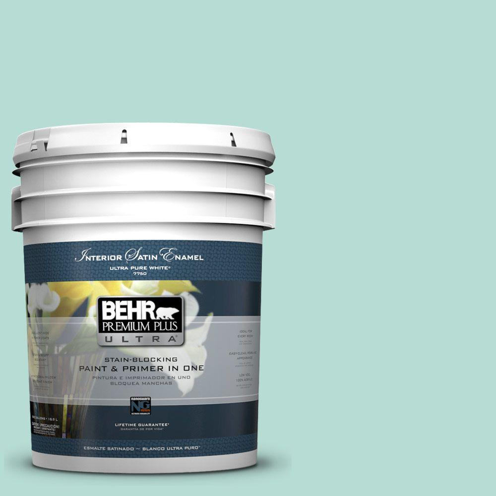 BEHR Premium Plus Ultra 5-gal. #490C-3 Balmy Seas Satin Enamel Interior Paint