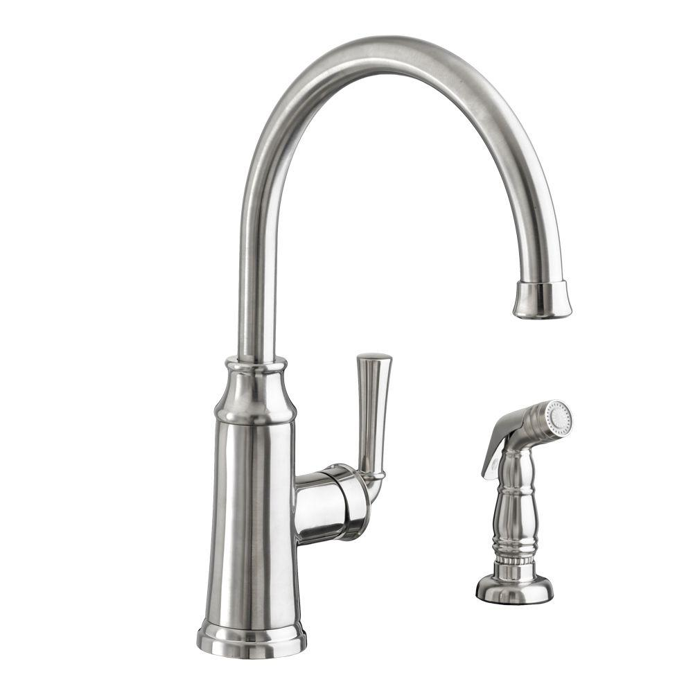 Portsmouth Single Handle Standard Kitchen Faucet With Side Sprayer In  Stainless