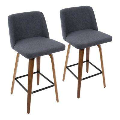 Toriano 26 in. Walnut and Blue Fabric Counter Stool with Black Square Footrest (Set of 2)