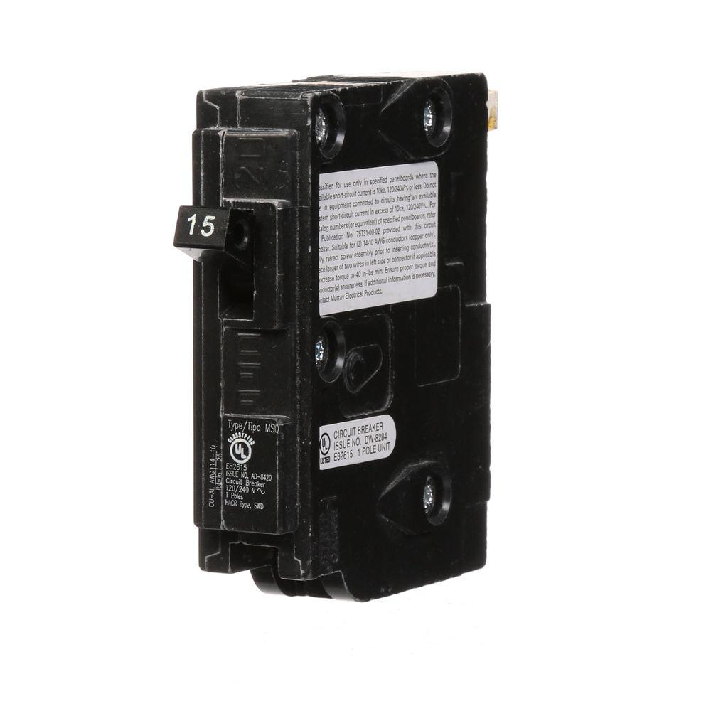 Square D Homeline 15 Amp Single Pole Circuit Breaker Hom115cp Oopes Ge Electrical Thql1115gfp 15amp 1pole Gfci Plugin Type Msq Qo Replacement