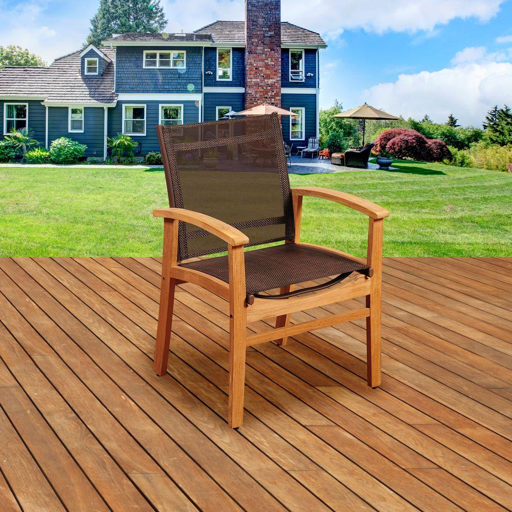 Elliot Teak Patio Dining Armchair with Brown Textile Sling