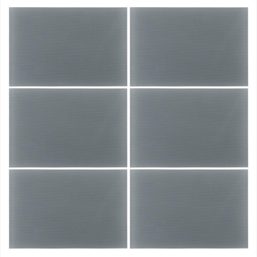 Hi-Tech 8 in. x 12 in. x 8 mm Hi-Tech Gray Glass Wall Tile (4 sq. ft. / case)