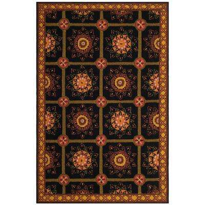 Easy Care Black Yellow 4 Ft X 6 Area Rug