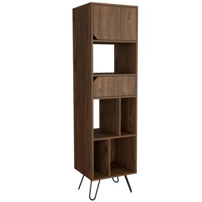Aster Hairpin 75 in. x 18 in. Walnut Mid Century Bookcase
