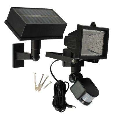 Solar Powered 50 ft. Range Black Motion Outdoor 54-LED Security Light