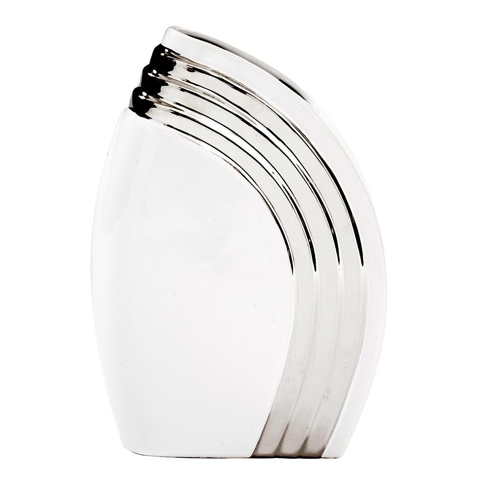 Howard elliott white art deco vase with metallic silver accent howard elliott white art deco vase with metallic silver accent small floridaeventfo Image collections