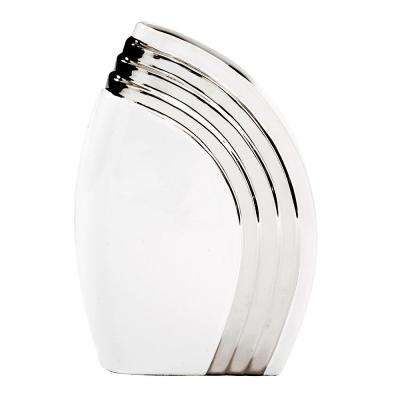 White Art Deco Vase with Metallic Silver Accent, Small