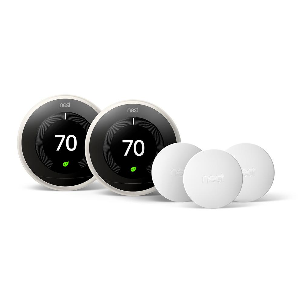 Smart Learning Wi-Fi 24-Day Programmable Thermostat, 3rd Gen, White (2-Pack)
