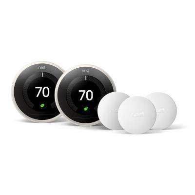 Smart Learning Wi-Fi 24-Day Programmable Thermostat, 3rd Gen, White (2-Pack) with Temperature Sensor (3-Pack)