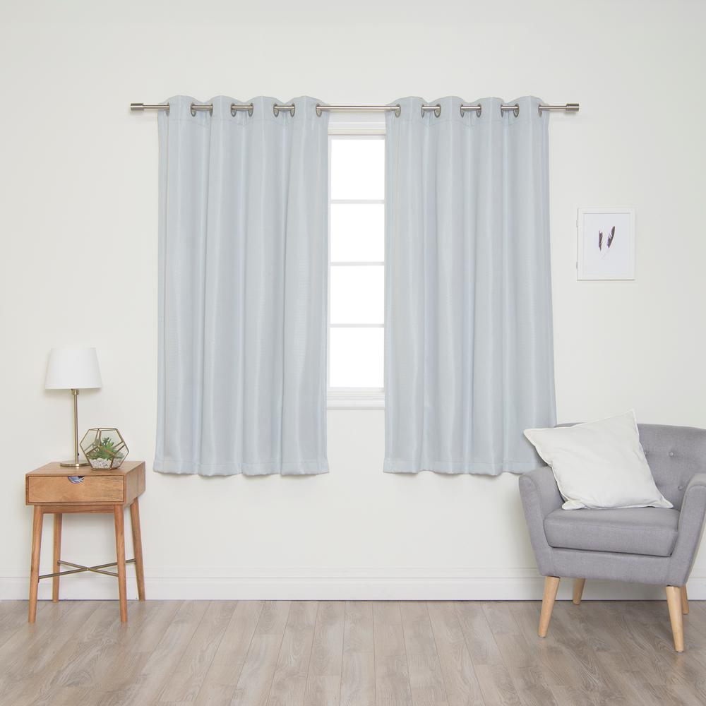 Light Gray Basketweave Faux Linen Blackout Grommet Curtains - 52 in. W x 63 in. L