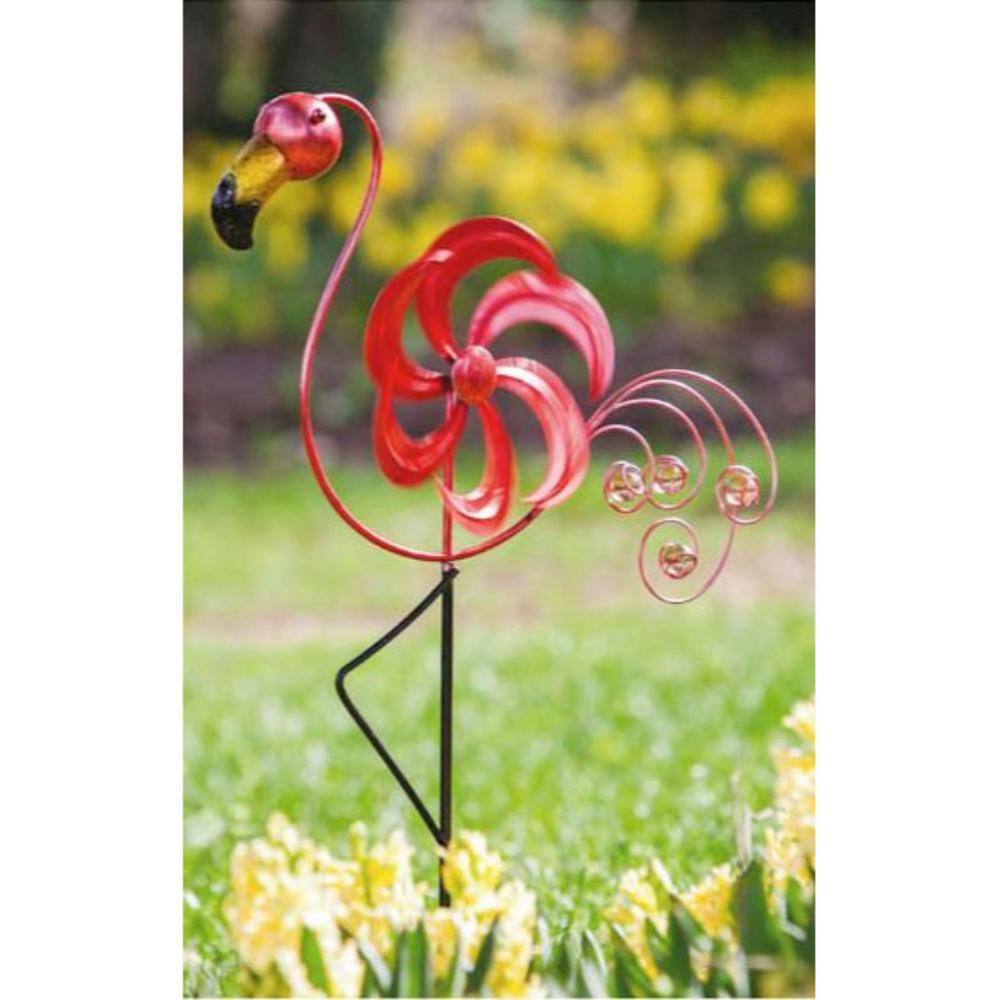 31 in. Cheerful Summer Days Red Bird Garden Stake w/ Kinetic Wind Spinner