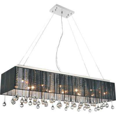 Water Drop 14-Light Chrome Chandelier with Black shade
