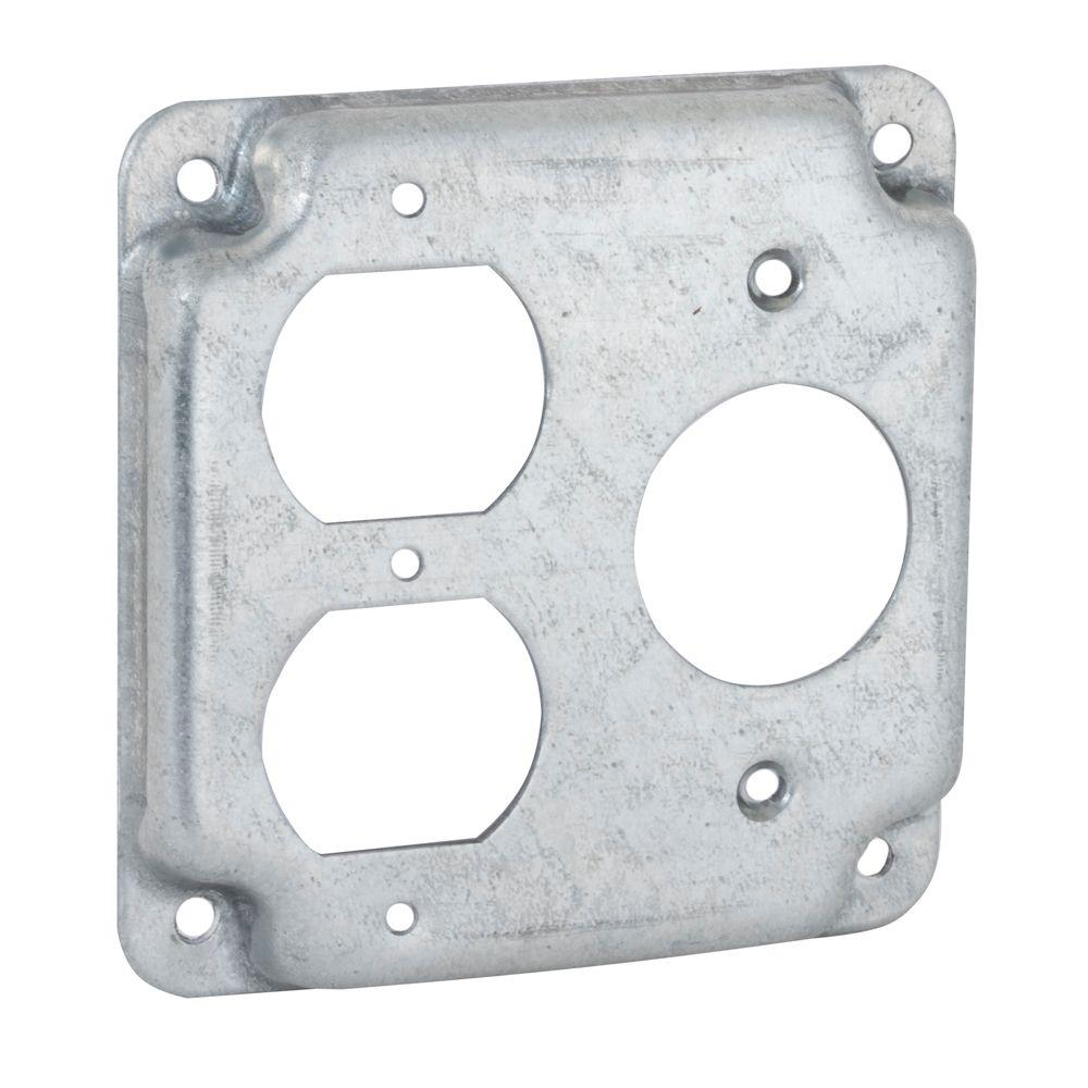 4 in. Square Exposed Work Cover for 1-Duplex and 1-15A Round