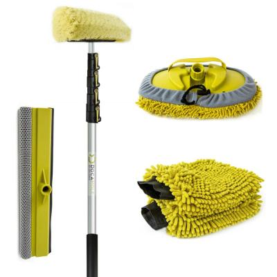 Car Wash Cleaning Kit and 30 ft. Extension Pole Soft Car Scrub Brush Car Squeegee Wash Mitts Microfiber Cleaning Head