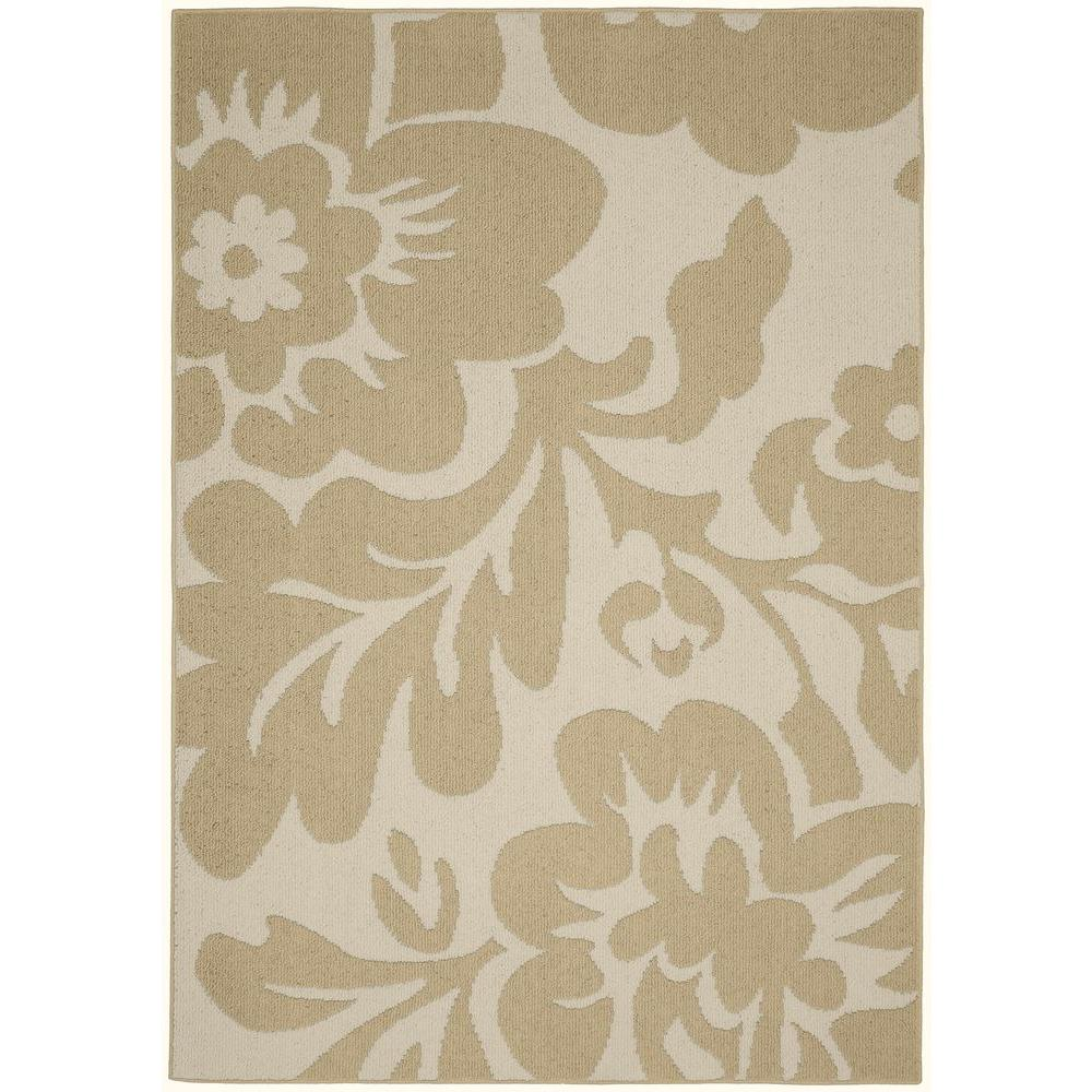 Garland Rug Floral Garden Tan Ivory 5 Ft X 7 Ft Area Rug Ll450a060084g3 The Home Depot