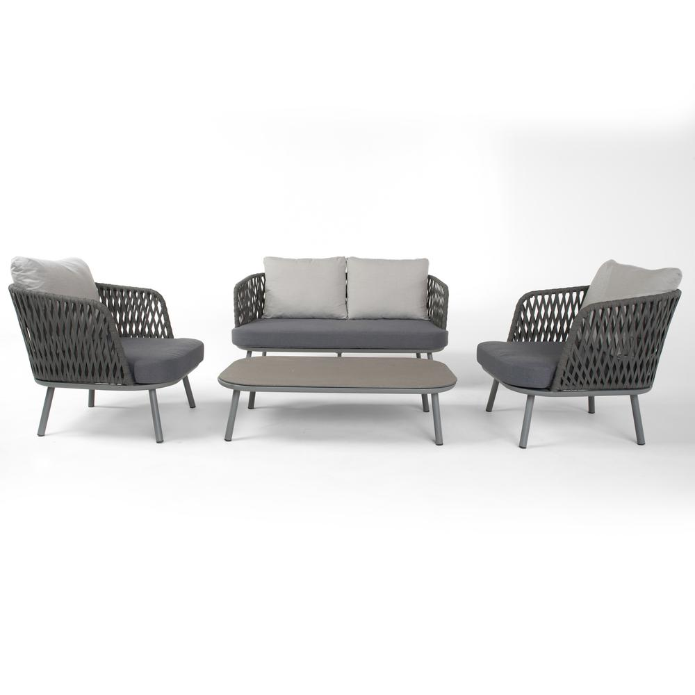 RST Brands Bloom 4 Piece Patio Seating Set With Grey Cushions