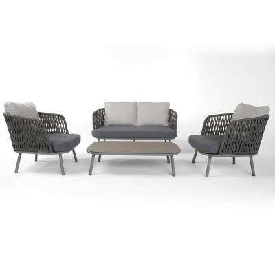 Bloom 4-Piece Patio Seating Set with Grey Cushions