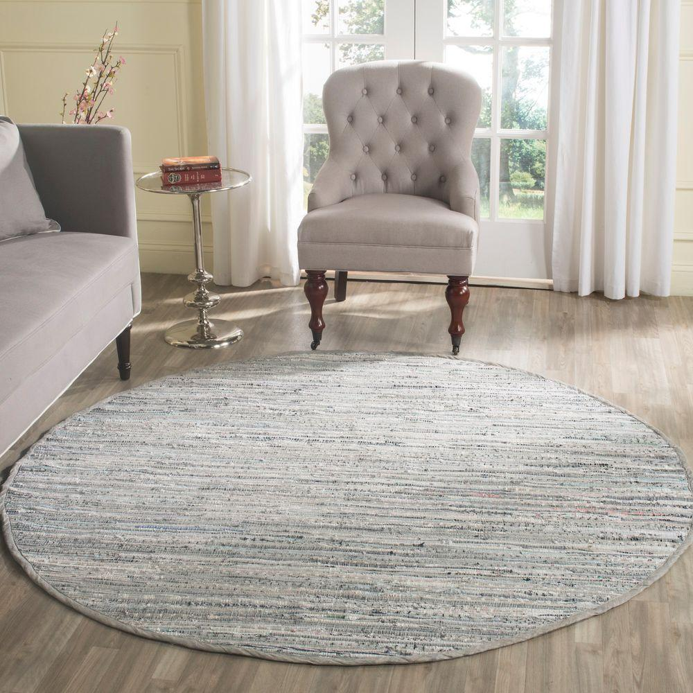 Safavieh Rag Rug Grey 6 ft. x 6 ft. Round Area Rug, Gray