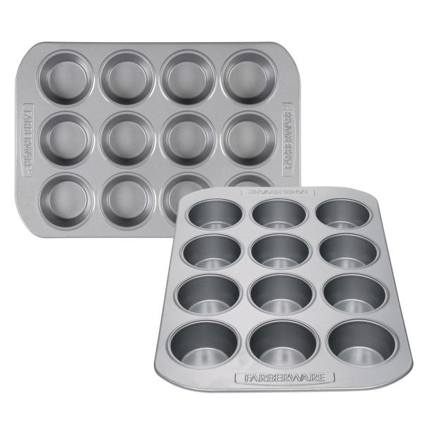 2-Piece Gray Nonstick Bakeware 12-Cup Muffin Pan Set
