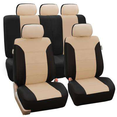 Polyester 47 in. x 23 in. x 1 in. Classic Khaki Full Set Seat Covers
