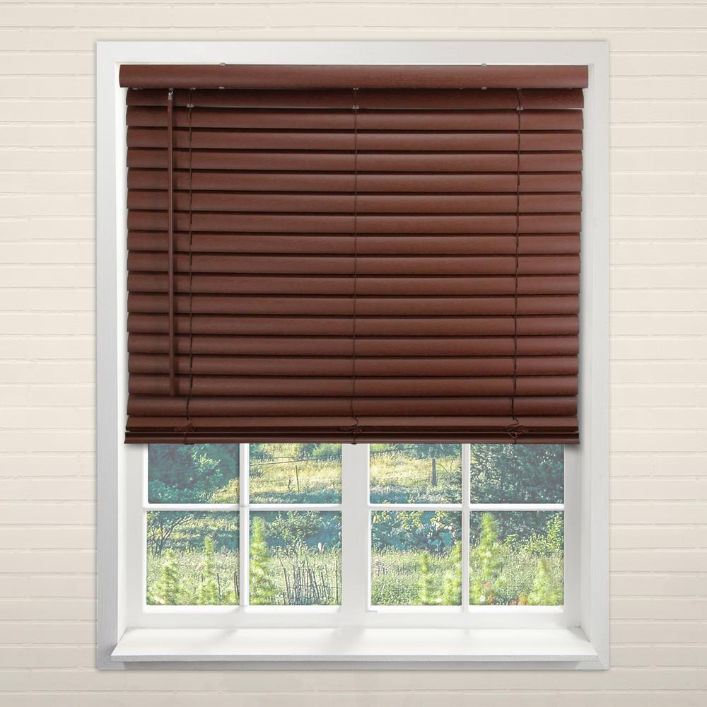 Chicology Cordless Room Darkening 2 In Vinyl Mini Blind Perfect For Kitchen Bedroom Office More English Chestnut 27 W X 64 L Vnbec2764 The Home Depot