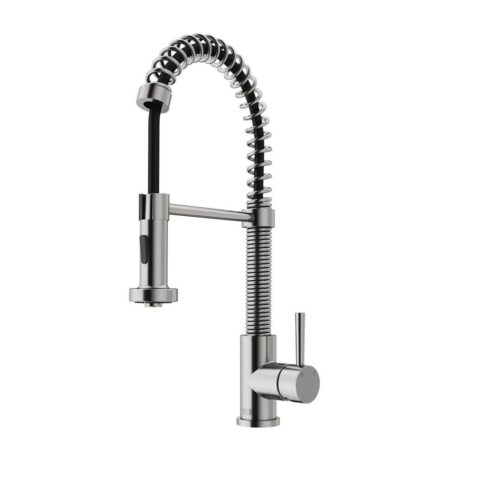 vigo kitchen faucet vigo single handle pull out sprayer kitchen faucet in stainless steel vg02001st the home depot 2531
