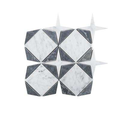 Century Star White 9 in. x 9 in. x 10 mm Polished Natural Stone Mosaic Floor and Wall Tile