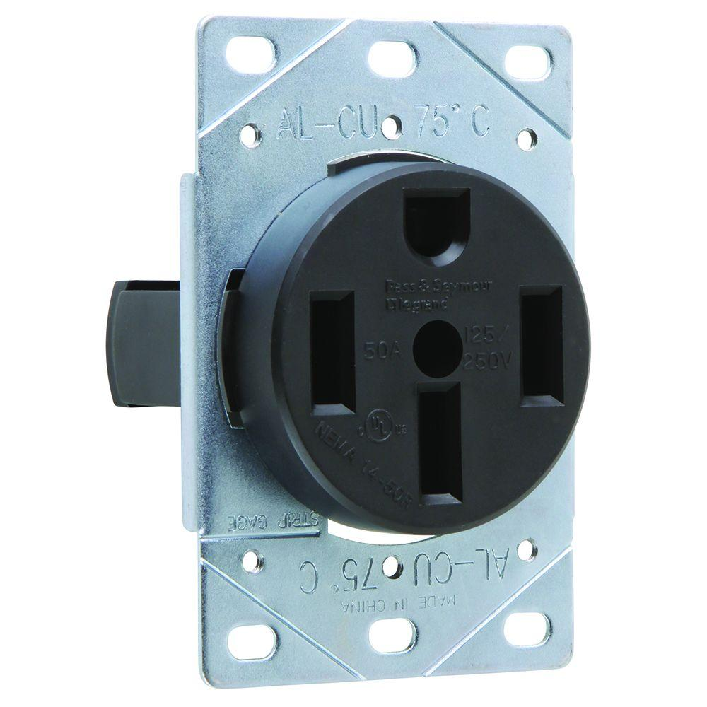 Legrand Pass Seymour 50 Amp 125 250 Volt Nema 14 50r Flush Mount Power Outlet 3894cc6 The Home Depot