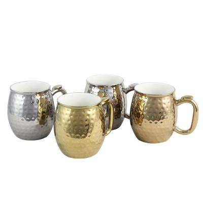 Glimmer 16 oz. Gold and Silver Color Electroplated Cup (Set of 4)