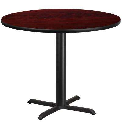 42 in. Round Mahogany Laminate Table Top with 33 in. x 33 in. Table Height Base
