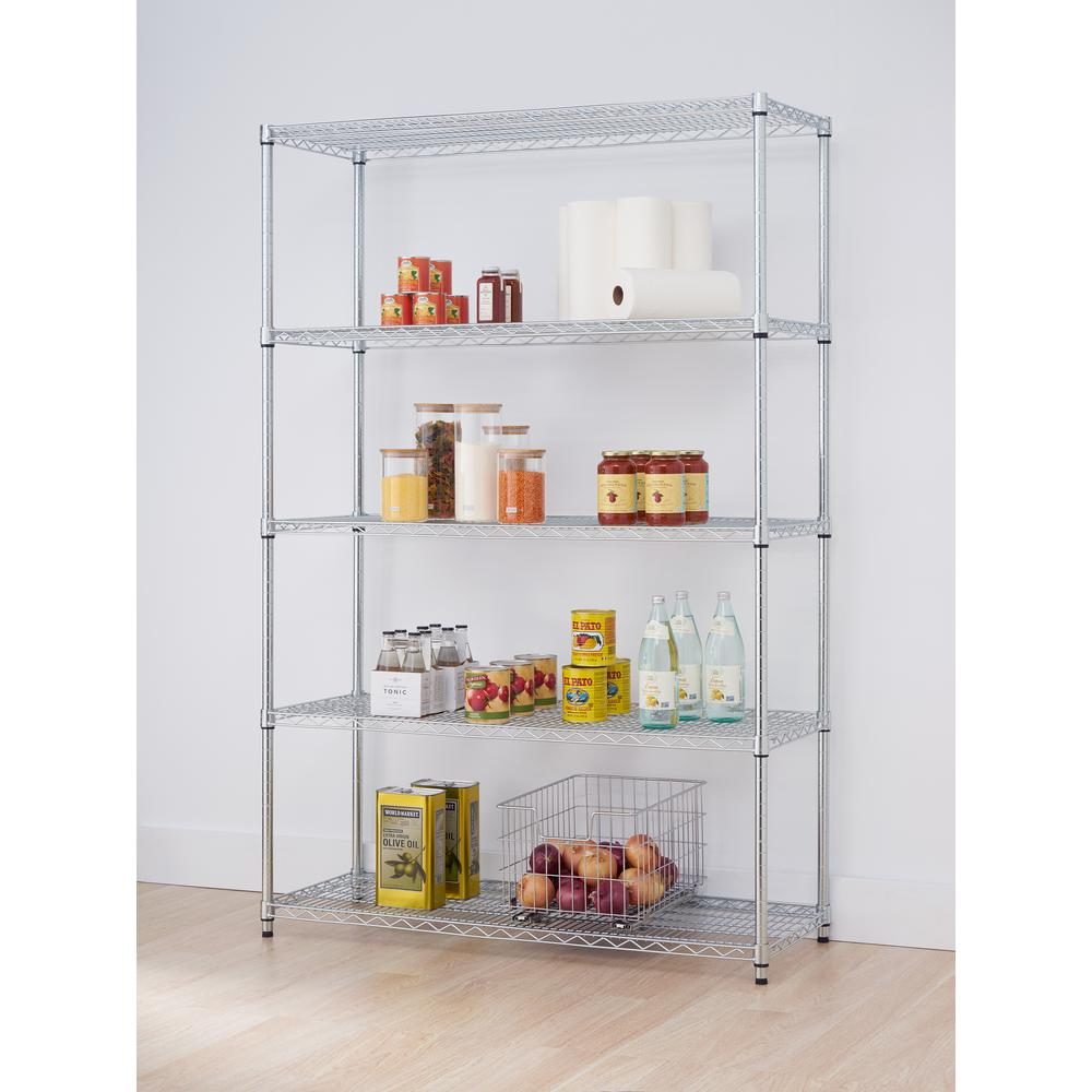 Trinity 48 in. W x 18 in. D 5-Tier NSF Chrome Wire Shelving Rack Decorative on