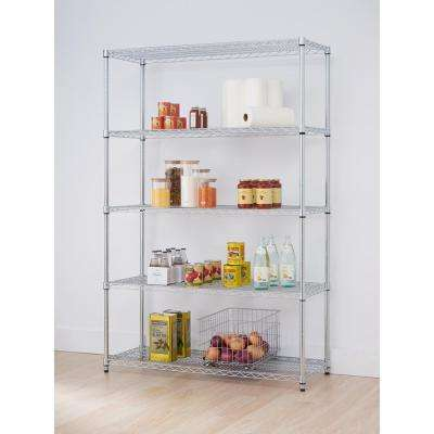 48 in. W x 18 in. D 5-Tier NSF Chrome Wire Shelving Rack Decorative Shelf
