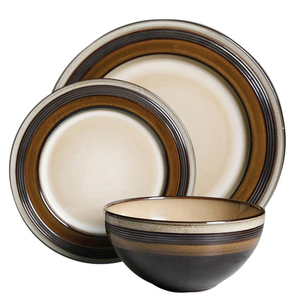 Everston 12-Piece Brown Dinnerware Set