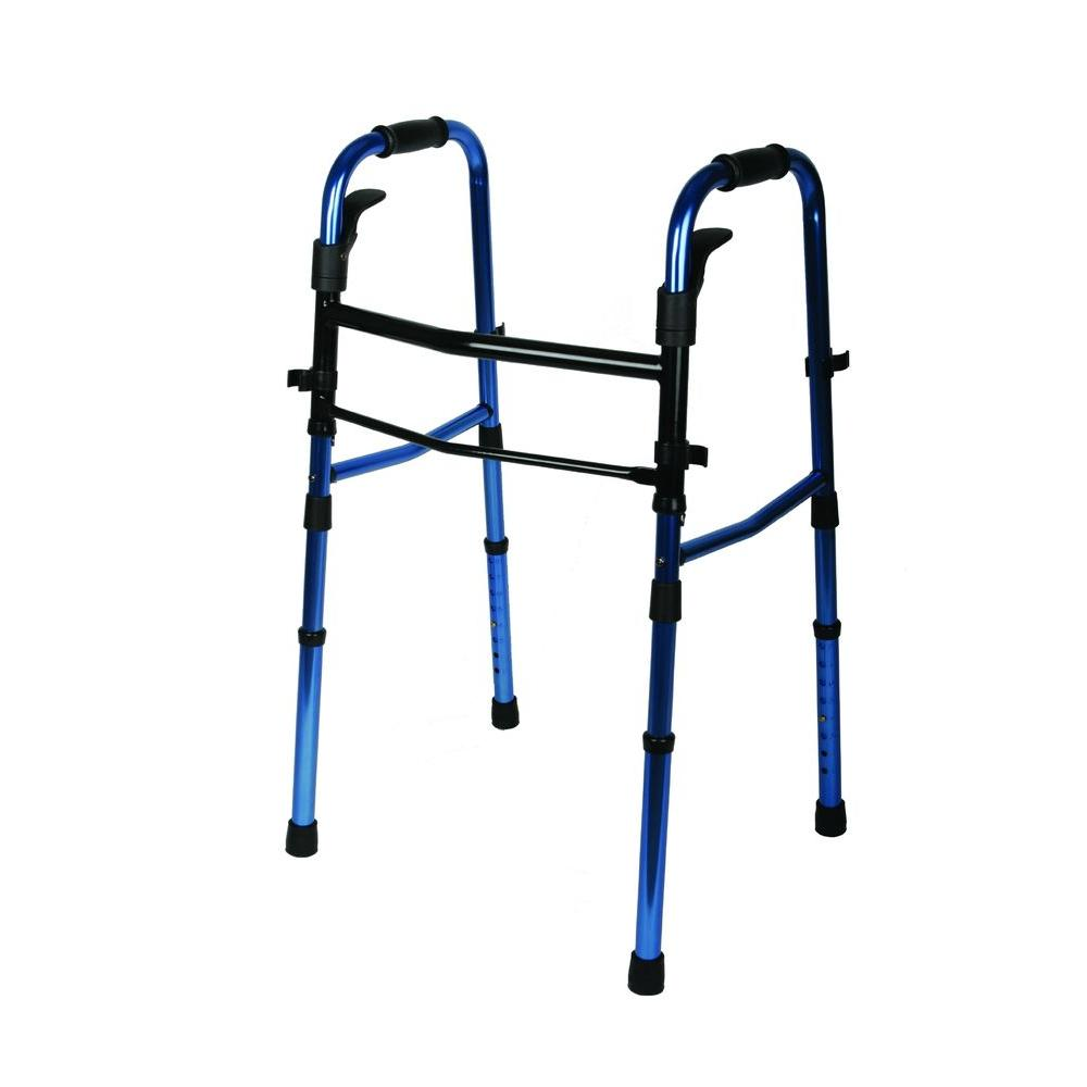 Medline Paddle Folding Walker in Blue This walker comes with paddle folding mechanism for easy operation. The legs also fold up making it perfect for transportation and storage. Model comes with both extension legs and 5 in. wheels in the box.