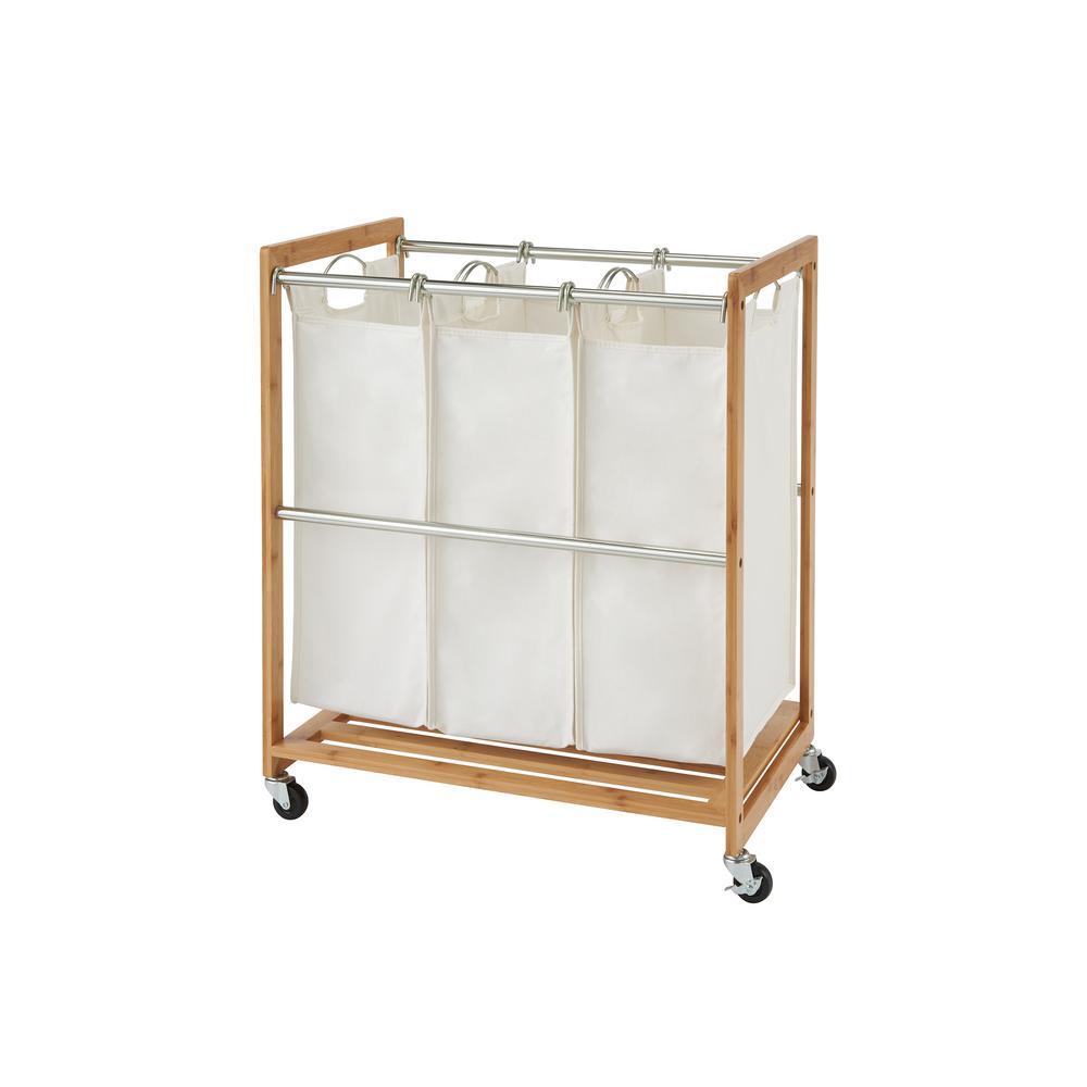EcoStorage 3-Bag Rolling Bamboo Laundry Cart