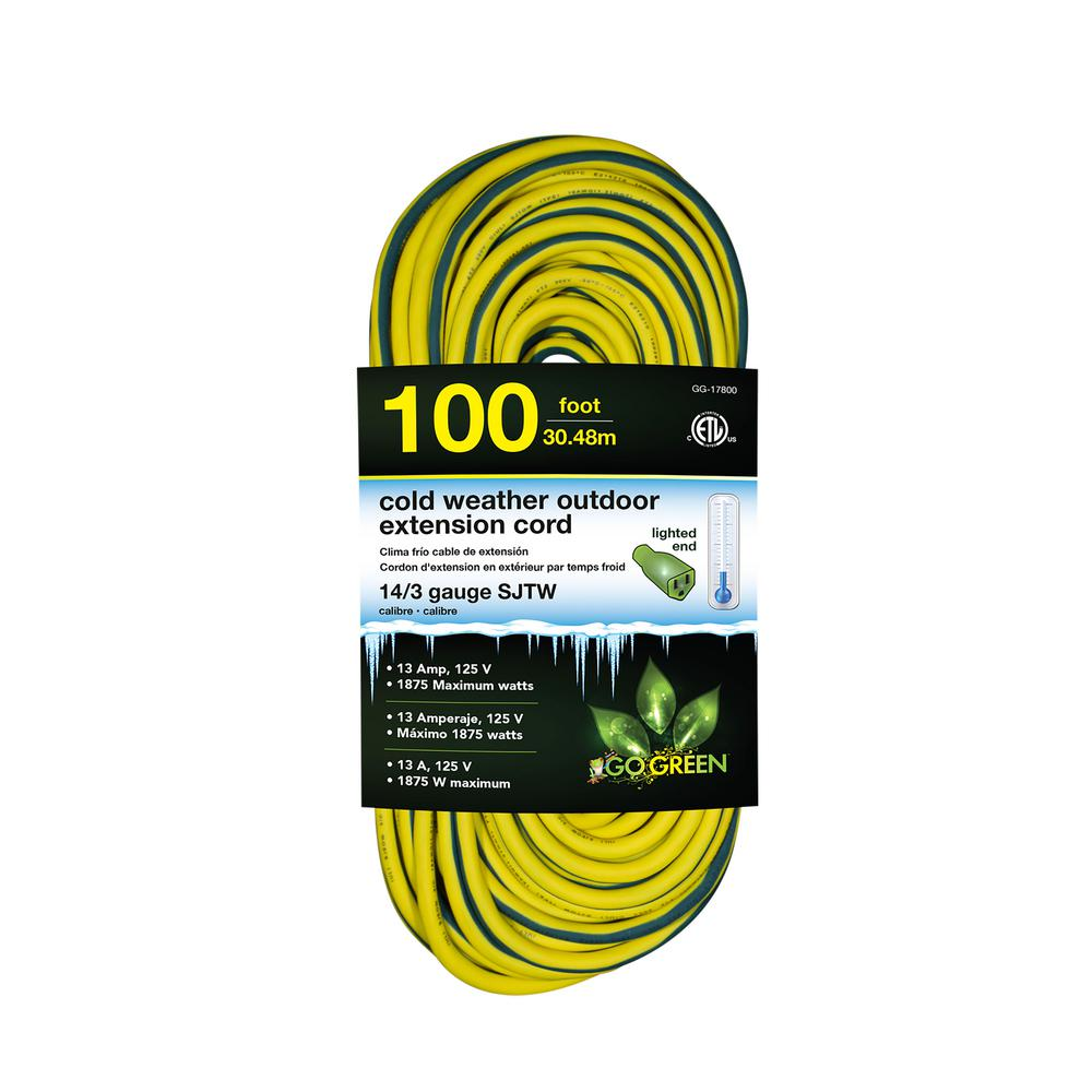Go Green Power 50 ft. 14/3 SJEOW Cold Weather Extension Cord with ...