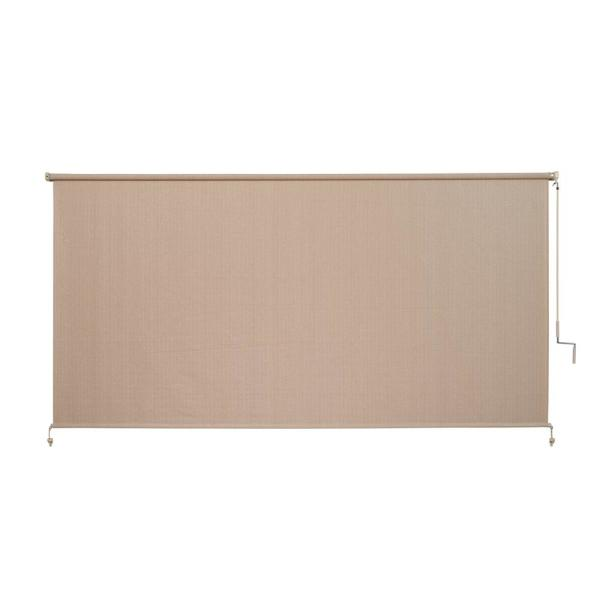 Camel Corded Light Filtering Fade Resistant Fabric Exterior Roller Shade 120 in. W x 72 in. L
