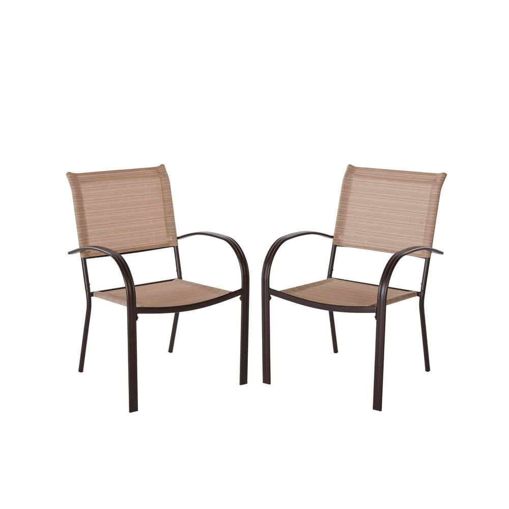 Hampton Bay Mix And Match Brown Stackable Sling Outdoor Dining Chair In Cafe 2