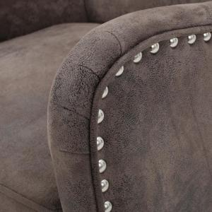 Swell Noble House Lorenzo Studded Grayish Brown Fabric High Back Dailytribune Chair Design For Home Dailytribuneorg