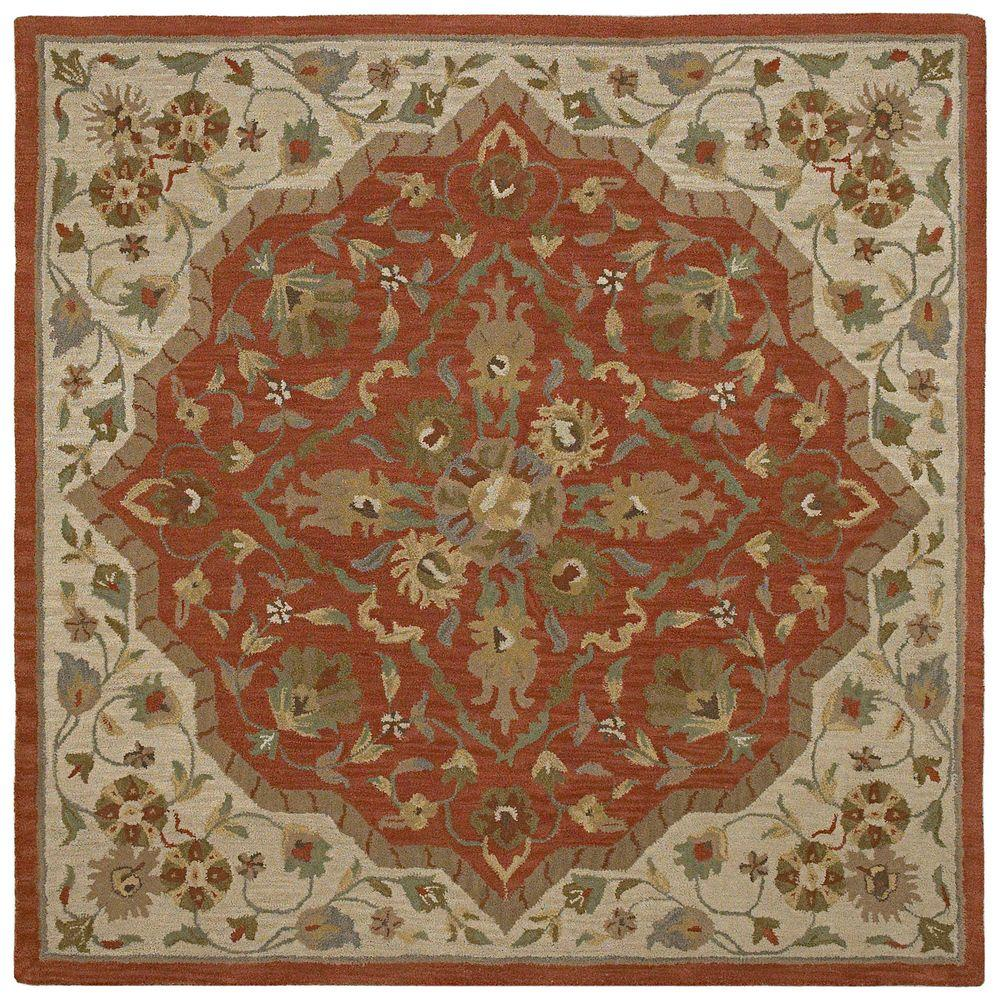 Kaleen Tara Azores Cinnamon 3 ft. 9 in. x 3 ft. 9 in. Square Area Rug