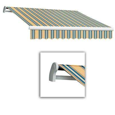 12 ft. LX-Maui Right Motor with Remote Retractable Acrylic Awning (120 in. Projection) in Tan/Teal