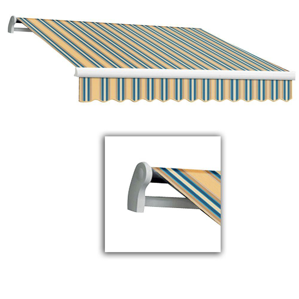 AWNTECH 12 ft. Maui-LX Left Motor Retractable Acrylic Awning with Remote (120 in. Projection) in Tan/Teal