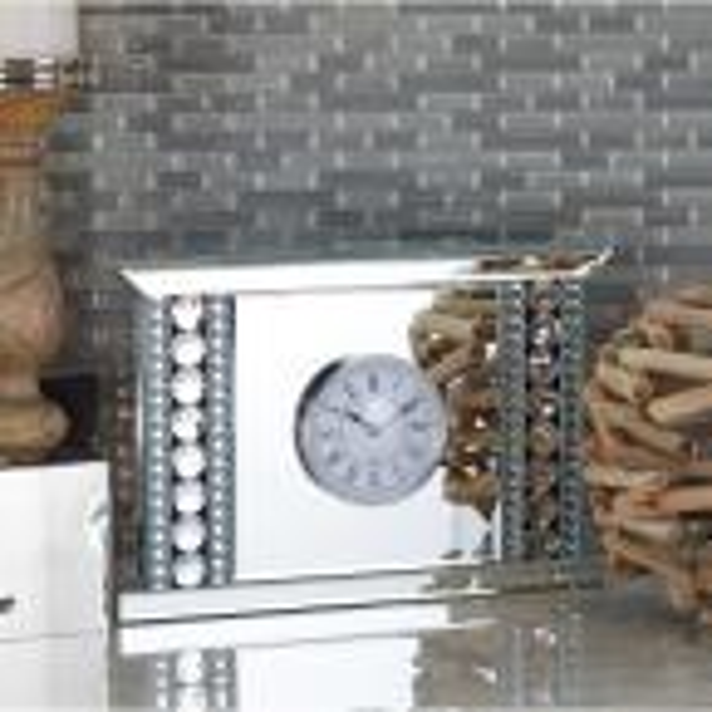 Clear Reflective Beaded Table Clock
