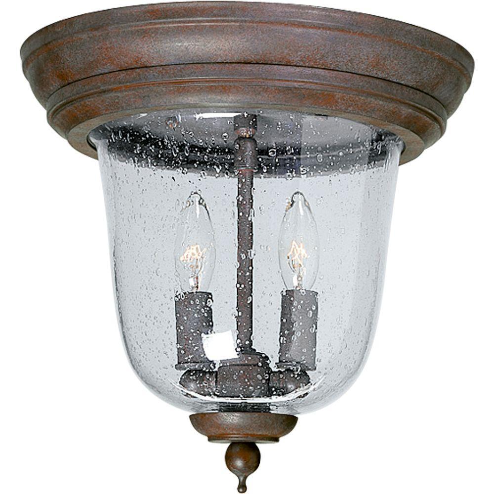 Progress Lighting Ashmore Collection Cobblestone 2-light Outdoor Flushmount-DISCONTINUED