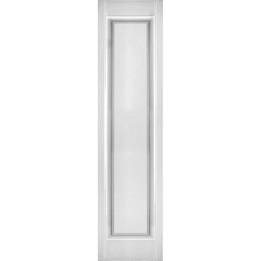 Ekena Millwork 12 in. x 43 in. Lifetime Vinyl Custom Single Raised Panel Shutters Pair Bright White