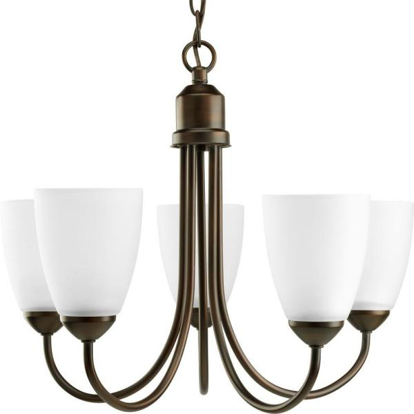 GatherCollection5-Light Antique Bronze Chandelier with Shade