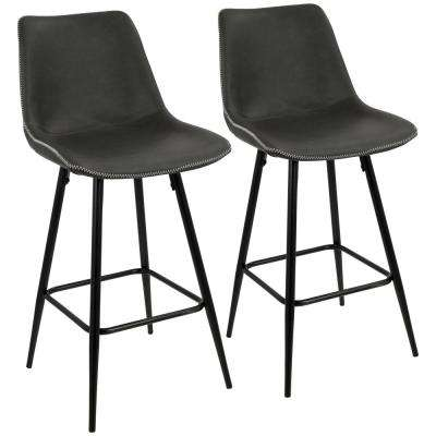Durango 26 in. Black and Grey Vintage Faux Leather Counter Stool (Set of 2)