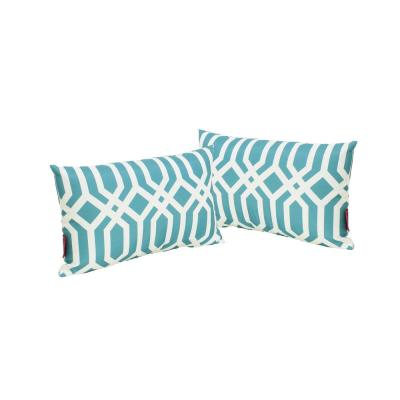 Manduka Dark Teal and White Arabesque Pattern Rectangle Outdoor Throw Pillow (2-Pack)