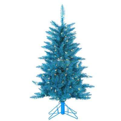 4 ft. Pre-Lit Teal Tinsel Artificial Christmas Tree