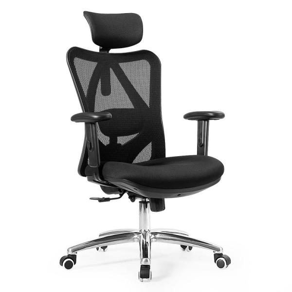 Costway Black High Back Mesh Office Chair With Adjustable Lumbar Support And Headrest Hw62423 The Home Depot